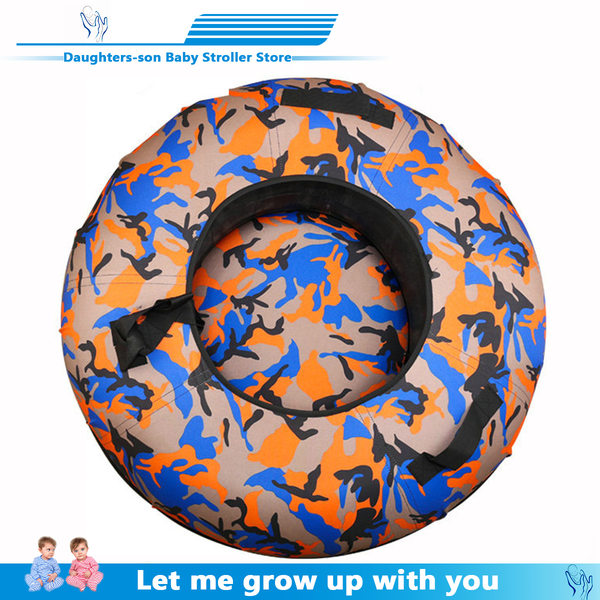 Snow Toy Winter Inflatable Ski Circle Ski Circle With Handle Durable Children Adult Snow Tube Skiing Thickened Floated Sled