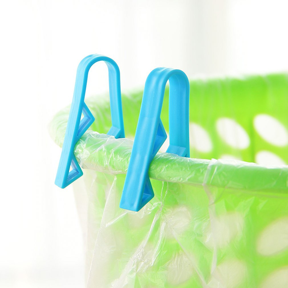 2PCS Garbage Basket Waste Can Trash Bag Clip Plastic Garbage Bin Clamp Anti-Slip Garbage Bag Clips Trash Clip