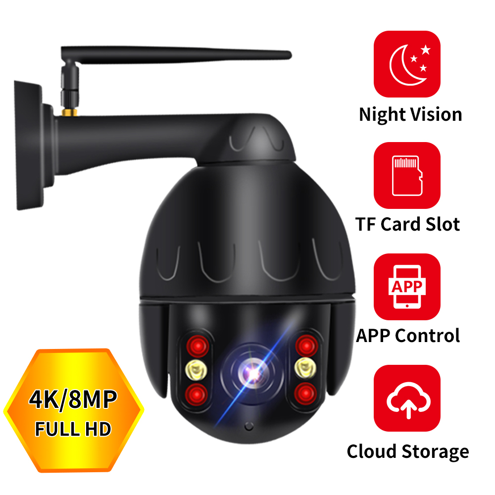 8mp 4k Cloud Wifi PTZ Camera Outdoor 2MP Home Security IP Camera 5X Optical Zoom Speed Dome Camera P2P Cctv Camera