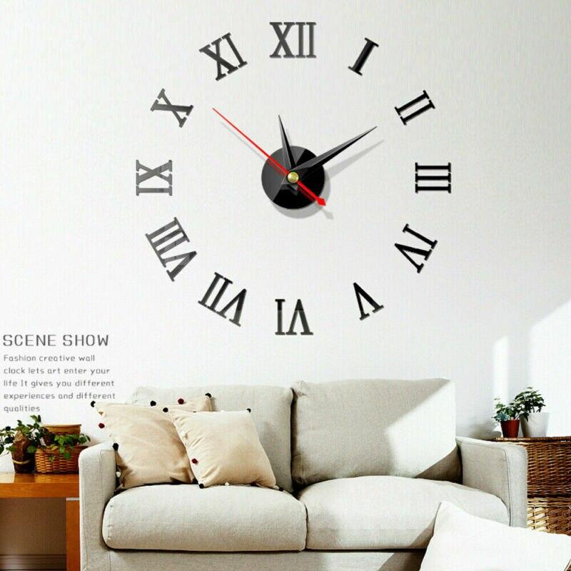 Home Modern Decoration Home Decor Wall Clocks Acrylic Mirror Acrylic Art Sticker 3D DIY Wall Clock
