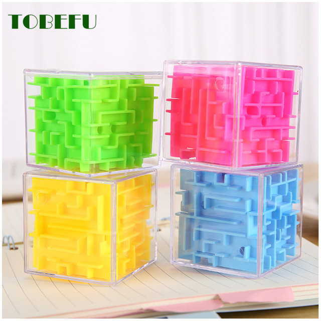 TOBEFU 3D Maze Magic Cube Transparent Six-sided Puzzle Speed Cube Rolling Ball Game Cubos Maze Toys for Children Educational 6
