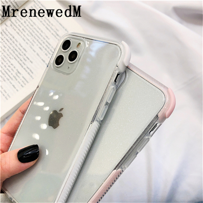 MrenewedM Luxury Clean Glitter Silicone Case For iPhone 11 Pro 6 6S 7 8 Plus XR XS Max Non-slip Bumper Protection Cover on 5S SE