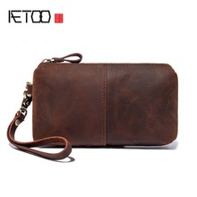 AETOO New style leather bag retro crazy horse leather clutch handbags men's handbags ladies' handbags