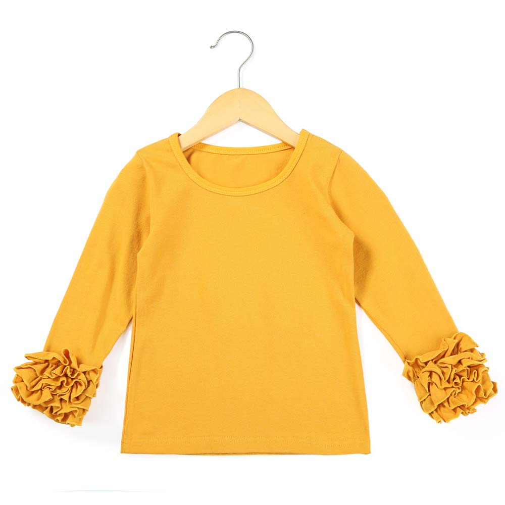 Icing Ruffle Baby Kid Girl Solid Top Shirt Long Sleeve Cotton T-shirt Tee Blouse