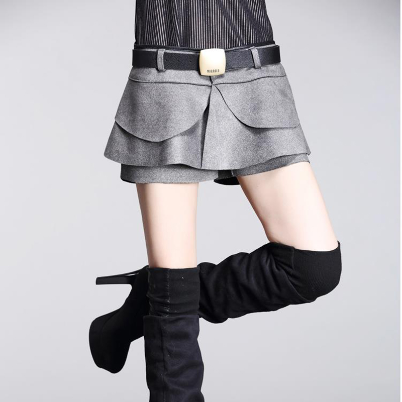 new 2017 fashion autumn winter culottes crochet shorts skirts high waist Pleated Solid Shorts Skirts Boots Shorts Hot sale Suede