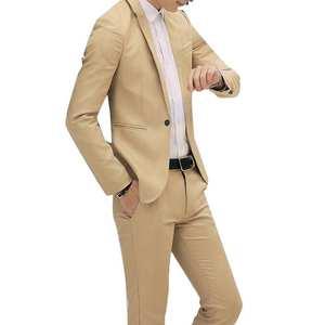 Tuxedo Men Suits Slim-Fit Wedding Business-Khaki Black Formal Male White Jacket--Pants