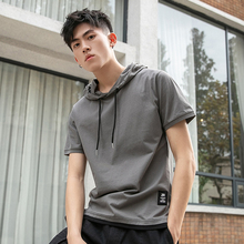 BROWON False Two Short Sleeve T-shirt Men's Hoods Casual Loose Summer New Solid Color Stitching Cotton Top Tee