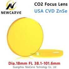 Eua cvd znse co2 lente de foco do laser diâmetro 18mm fl 38.1-101.6mm 1.5