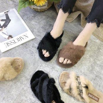 ארנב פרווה נעל נשים של חיצוני ללבוש ביתי חדש סגנון פלאפי צלב קטיפה נעל נשים של סתיו וחורף חיצוני ללבוש