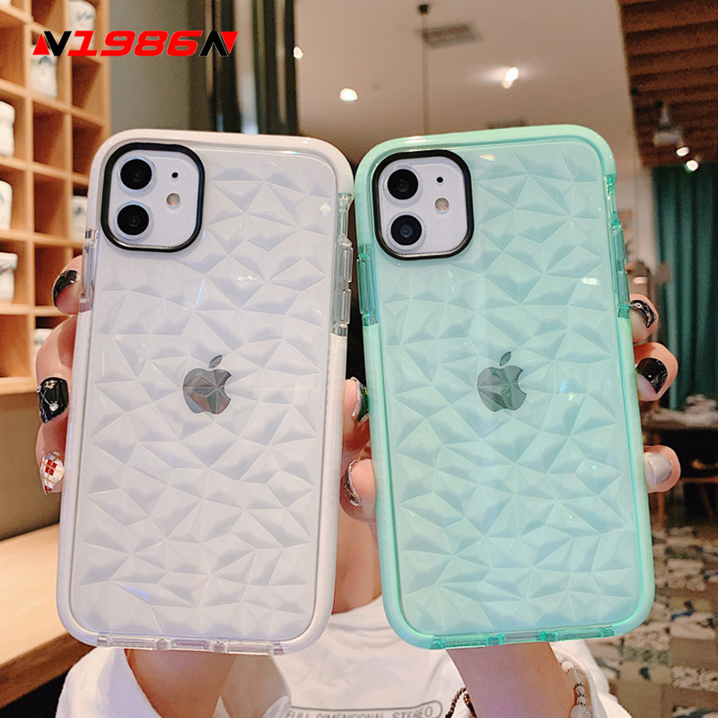 N1986N Phone Case For iPhone 11 Pro X XR XS Max 6 6s 7 8 Plus Fashion 3D Diamond Texture Clear Soft TPU Shockproof For iPhone SE