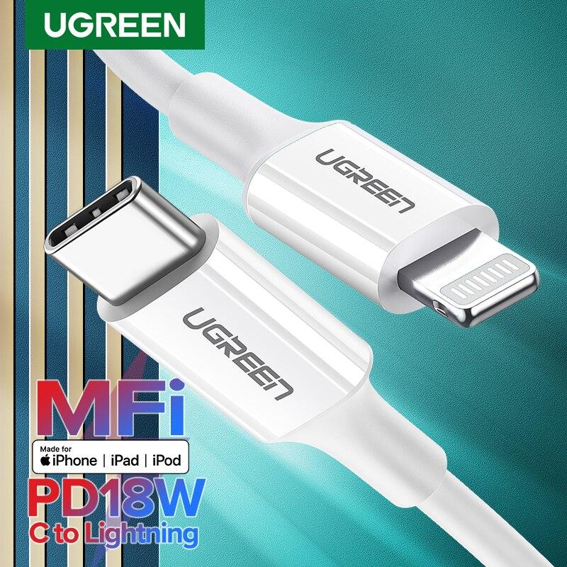 Ugreen MFi USB סוג C כדי ברקים כבל עבור iPhone 11 פרו X XS 8 XR PD18W מהיר USB C טעינת כבל נתונים עבור Macbook פ