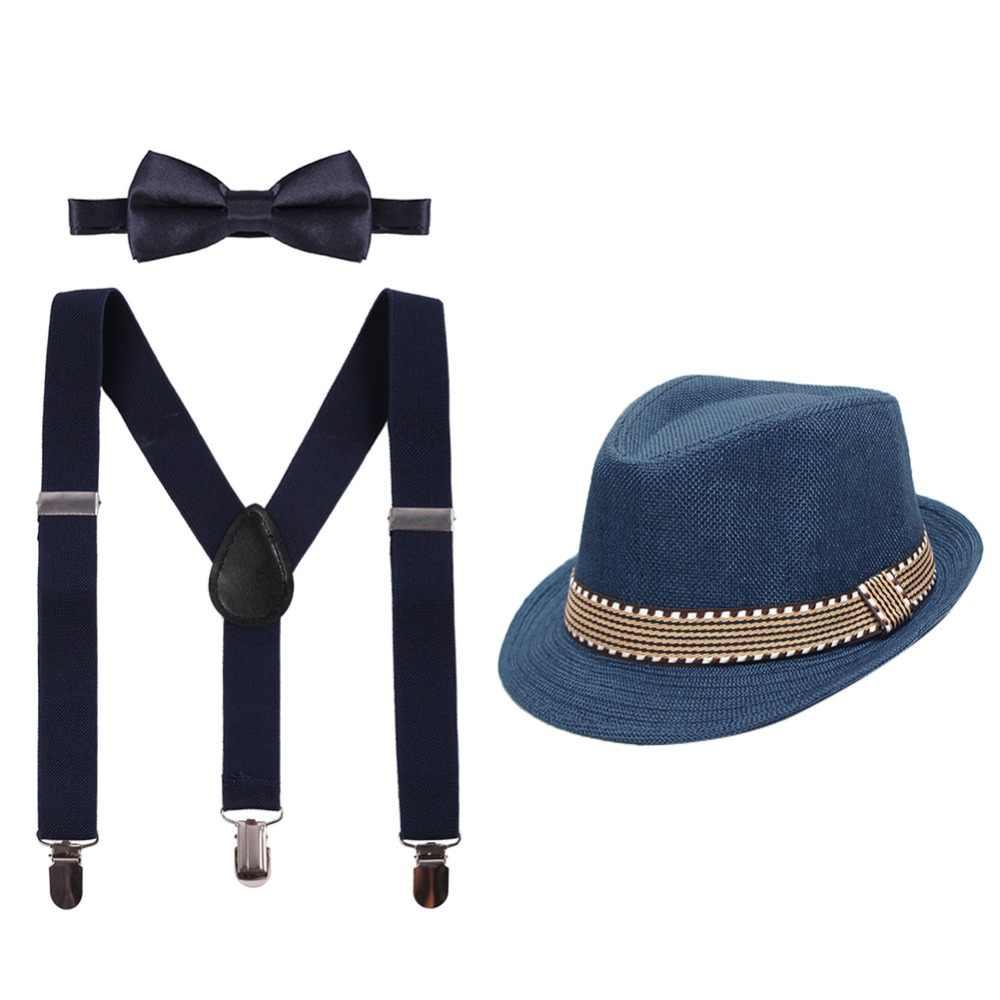 KIT di Al Capone Gangster Cappello Bretelle Cravatta Ghette Baffi Costume