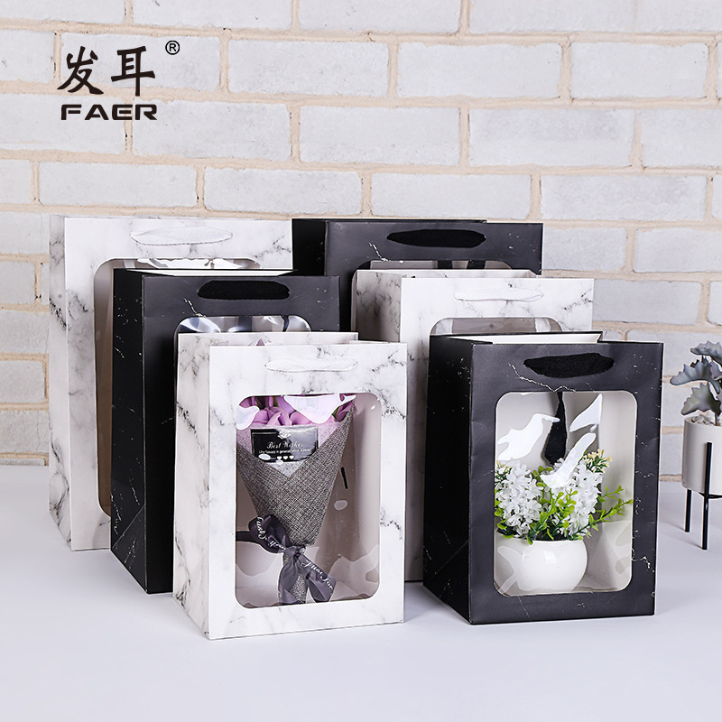 Marble Transparent Anniversary Wedding Gift Bag Candy Paper Packaging Flower Gift Box пакетики для конфет Коробка для подарков
