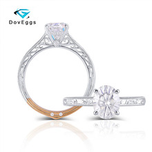 DovEggs 14K White and Yellow Gold Center 2CTW 7X9mm Colorless Oval Moissanite Engagement Ringfor Women Wedding Birthday Gifts