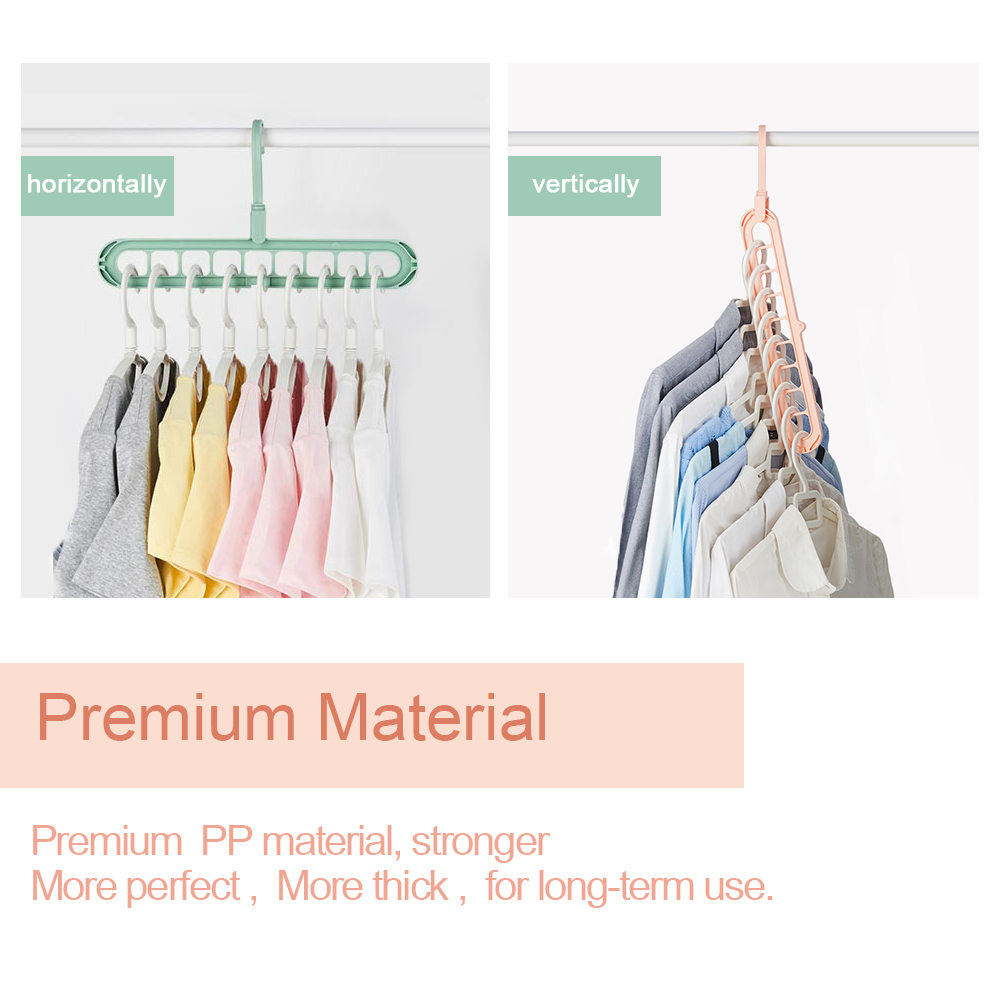 5PCS/Lot Clothes Hanger Multi-port Support Circle Clothes Drying Racks 9 Hole Rotating Multifunction Plastic Scarf Storage Rack