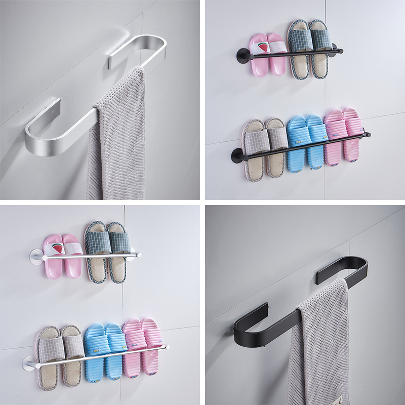 A Generation Of Fat Alumimum Bathroom Towel Bar Hole Punched Toilet Wall Hanging Slipper Draining Shelf Manufacturers Wholesale