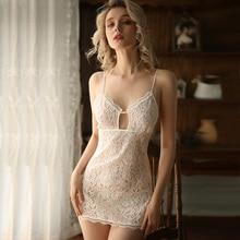أسود أبيض الزفاف قمصان النوم الدانتيل الخامس الرقبة فستان سوسبندر ملابس نوم للنساء ملابس خاصة مثير الملابس الداخلية فستان سهرة