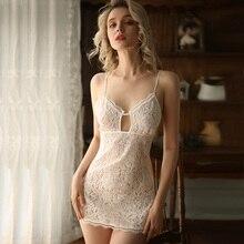 Black White Wedding Nightgowns Lace V Neck Suspender Dress Nightwear Nighties for Women Sleepwear Sexy Lingerie Night Gown