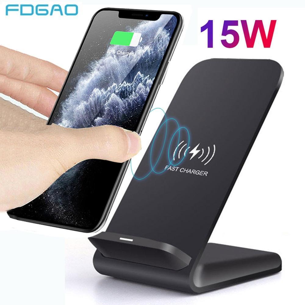 15W Qi bezprzewodowa ładowarka stojak na iPhone SE2 X XS MAX XR 11 Pro 8 Samsung S20 S10 S9 szybka ładowarka stacja dokująca ładowarka telefonu