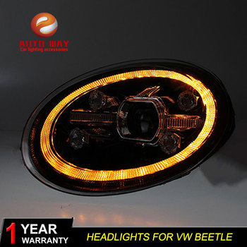 Car Styling Head Lamp case for VW Beetle 2014-2020 Headlights LED Beetle Headlight DRL Lens Double Beam Bi-Xenon HID