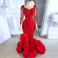 2020 Red Long Sleeve Evening Dresses Formal Vestidos Prom Gowns Mermaid Sheer Neck Lace Appliques Ruffles Split Formal Dress