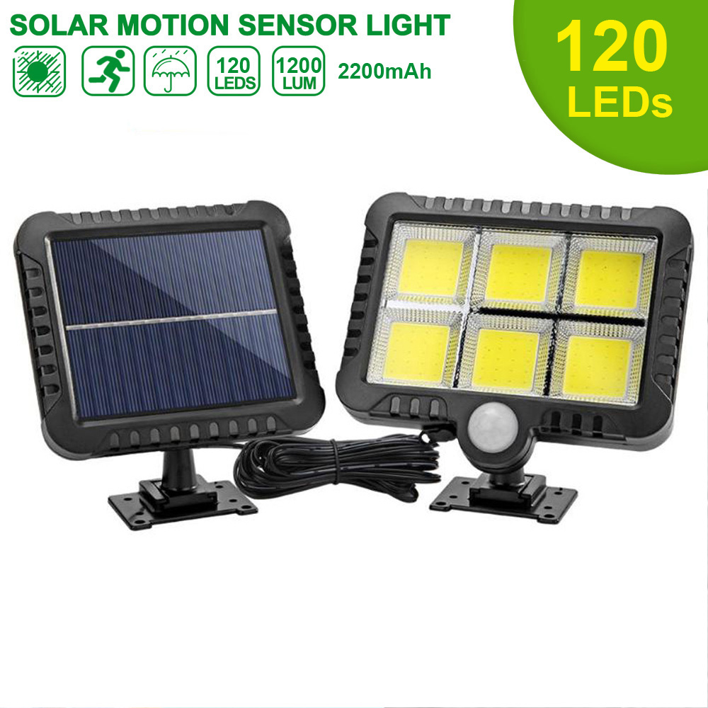 120 COB LED Solar Light Solar Lamp With Motion Sensor Outdoor Garden Spotlight Solar Powered Wall Lamp For Street Path Courtyard