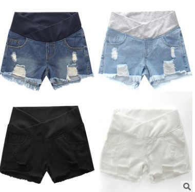 נשים בהריון הקיץ ללבוש נמוך מותן ינס Loose יולדות מכנסיים