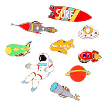 Planet astronaut Dripping oil brooch telescope spacecraft aircraft Cartoon Clothes backpack badge jewelry Childrens gift