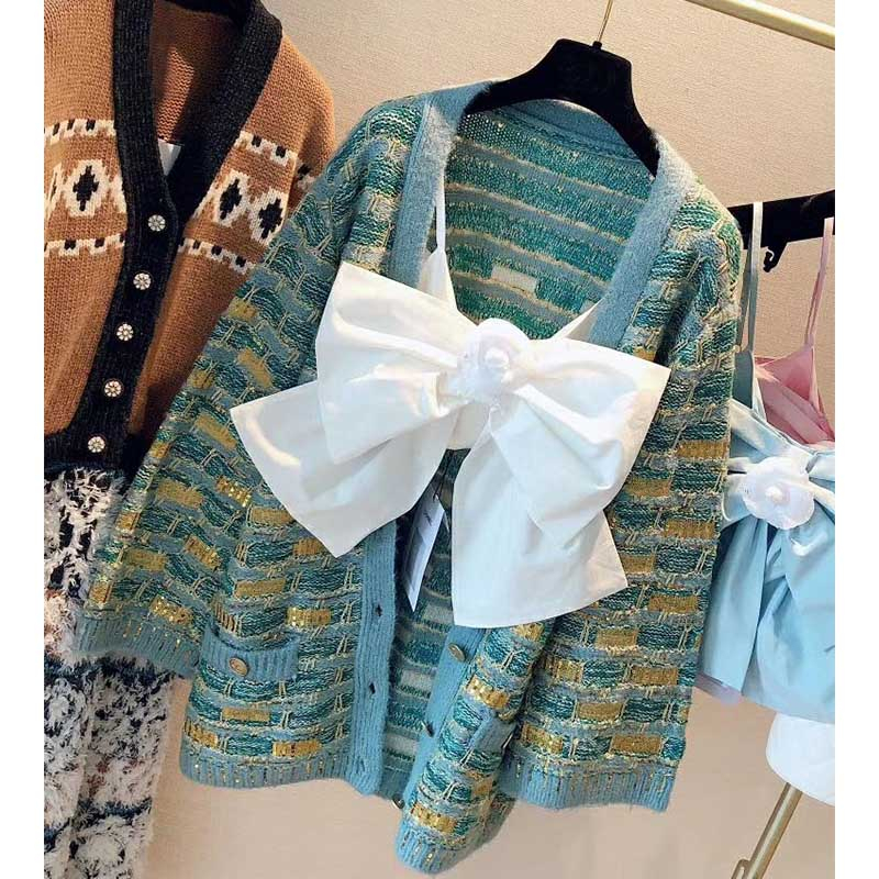 Cosmicchic 2020 Fashion Runway Design Women's Cardigan Sweater Long Sleeve V-neck Gold Button Knitted Jacket Sequin Sweater Coat