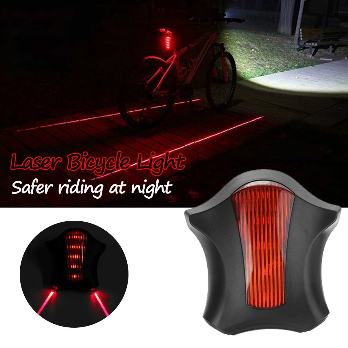 Laser Bicycle Lights Three-stage Control Waterproof Safe Night Riding Laser LED Flashlight Bike Accessories Cycling Taillight
