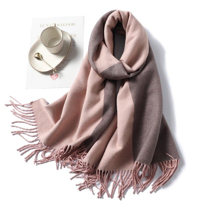 2019 Design Brand Pink Yellow Women Scarf Winter Warm Cashmere Stole Thick Blanket Tassel Scarves Shawl Ladies Foulard Wraps