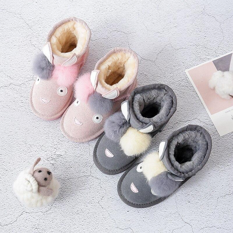 Dolakids hiver animal dessin animé enfants bottes en cuir bottes pour garçons et filles épaissi chaud bébé coton rembourré chaussures