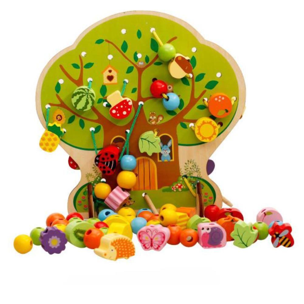 Wooden Animal Fruits Vegetables Lacing Stringing Beads Children Educational Toys Develop Children's Intelligence Perfect Gifts