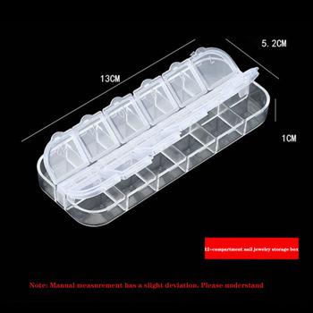12-komora Nail Art długi pasek pudełko przezroczyste przechowywanie Rhinestone akcesoria do paznokci komora przenośny pojemnik Box skrzynka narzędziowa tanie i dobre opinie CN (pochodzenie) Jedna jednostka Butelki wielokrotnego użytku GJ0002 transparent Plastic