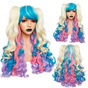 Image 1 - Аногол Синий Розовый Термостойкое волокно длинные волнистые Лолита фиолетовый парик для косплея многоцветная боковая бахрома синтетический парик 2 хвостика