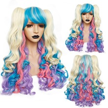 ANOGOL Blue Pink Heat Resistant fiber Long Body Wave Lolita Cosplay Wig Purple Multi color Side fringe Synthetic Wig 2 Ponytails