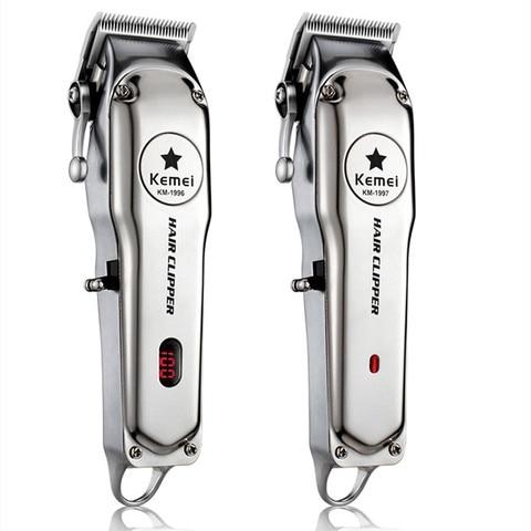Kemei 1997 110 240v m quina de cortar cabelo profissional de a o inoxid vel