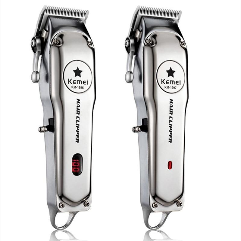 Kemei 1997 110-240v Stainless Steel Professional Hair Clipper Rechargeable Push Shear Men's Electric Beard Razor Hair Clipper