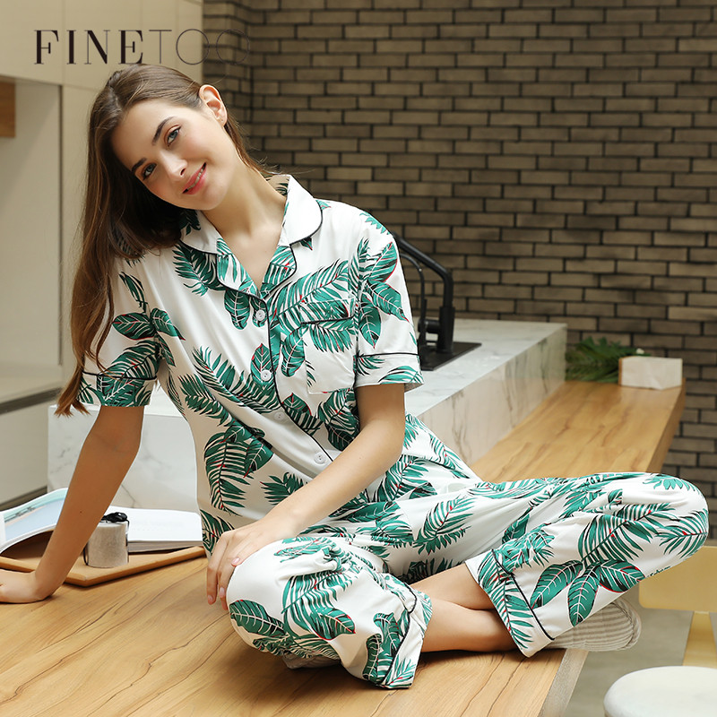 Print Leaf Pajamas Sets Turn-down Collar Sleepwear Women Clothes For Autumn Mujer Short Sleeve Long Pants Cotton Pajamas Female