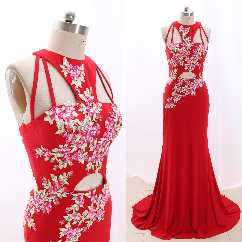 MACloth Red Sweep Train Halter Floor-Length Long Embroidery Jersey   Prom     Dresses     Dress   M 266497 Clearance