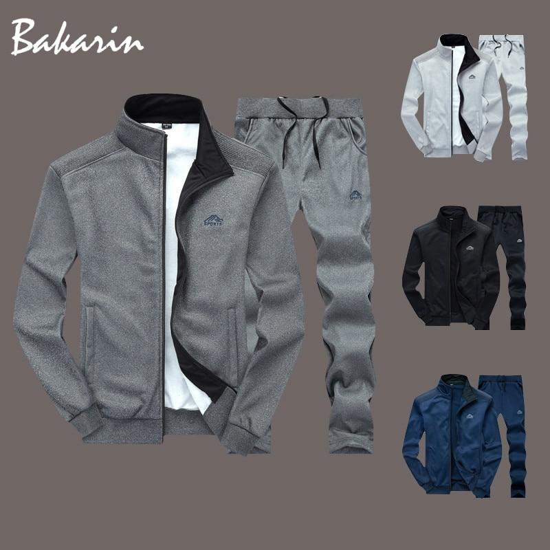 Fato de treino masculino dos homens da moda conjunto de dois pieces zíper quente moletom jaqueta + sweatpants moleton masculino conjuntos sweatsuits
