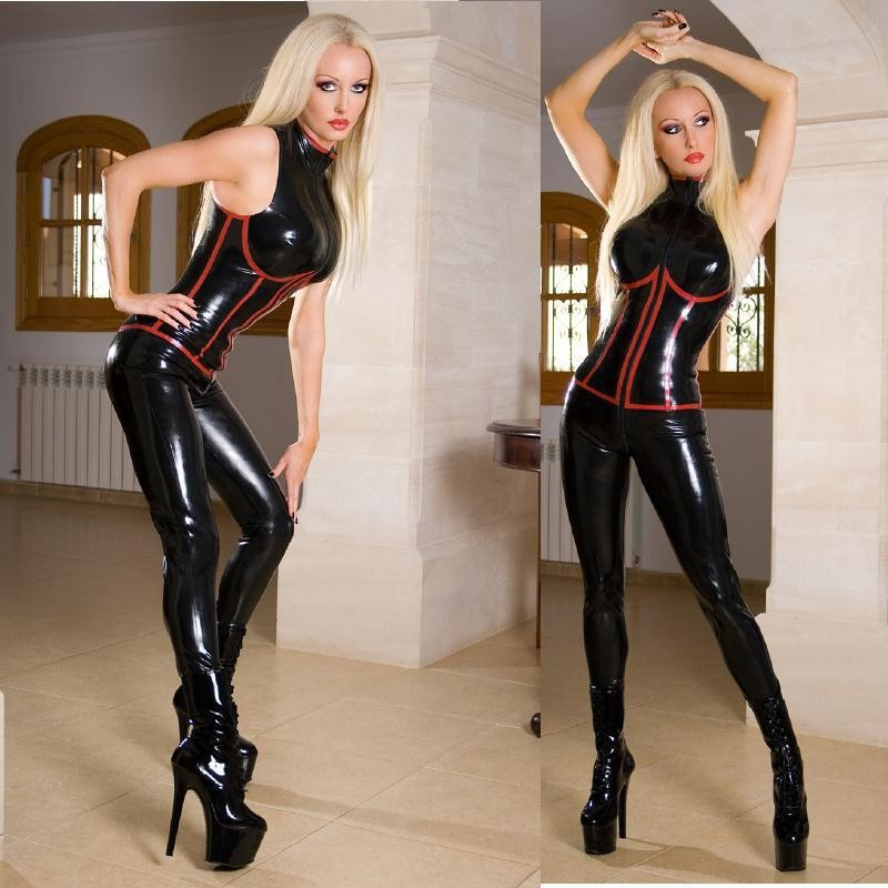 Plus Size New Faux Leather Latex Catsuit Sexy Sleeveless Black Leather Bodysuit PVC Turtle Neck Jumpsuit Tights Game Uniforms
