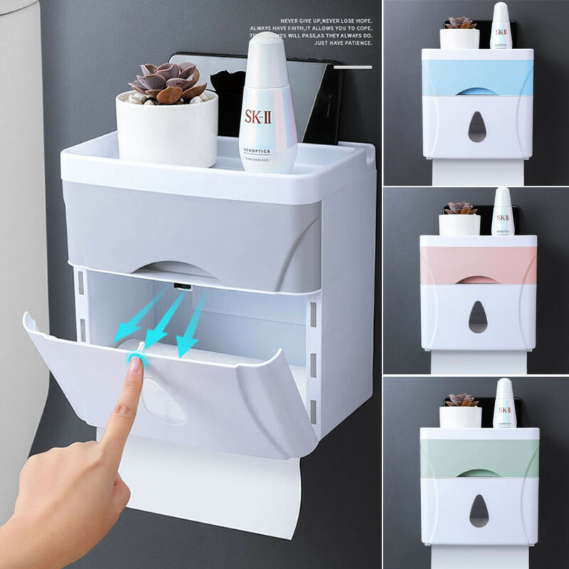 Waterproof Wall Mount Toilet Paper Holder Shelf Toilet Paper Box Tray Roll Paper Tube Storage Box Creative Tray