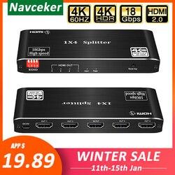 2020 4K 60Hz HDMI Splitter 1x2 1x4 HDMI 2.0 Splitter 4K HDMI Splitter HDCP 2.2 4 Port HDMI Splitter Switcher for PS4 Apple TV