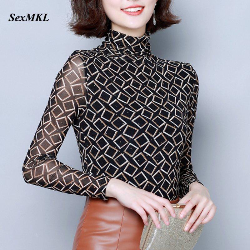 Blusas Mujer De Moda 2019 Women Winter Long Sleeve Printed Blouse Korean Style Basic Slim Office Ladies Casual Tops Plus Size