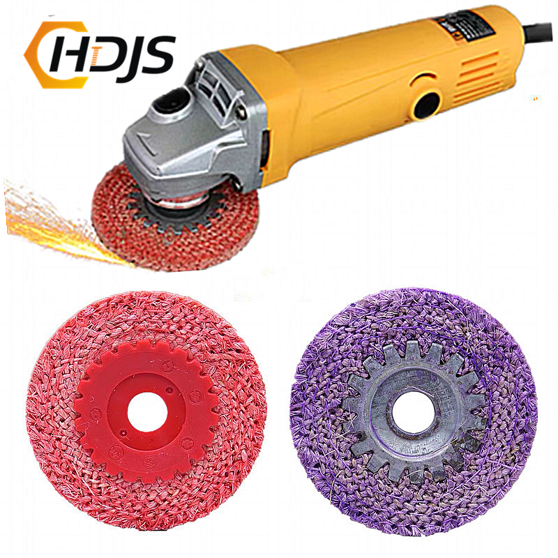 Polishing Tool 100MMX16MM Red Hemp Rope Polishing Wheel, Purple Hemp Wheel For Stainless Steel Metal Rough Angle Grinding