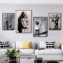 Graffiti Cool Boy and Cute Little Boy Posters and Prints Canvas Paintings Wall Art Pictures for Living Room Decor (No Frame)