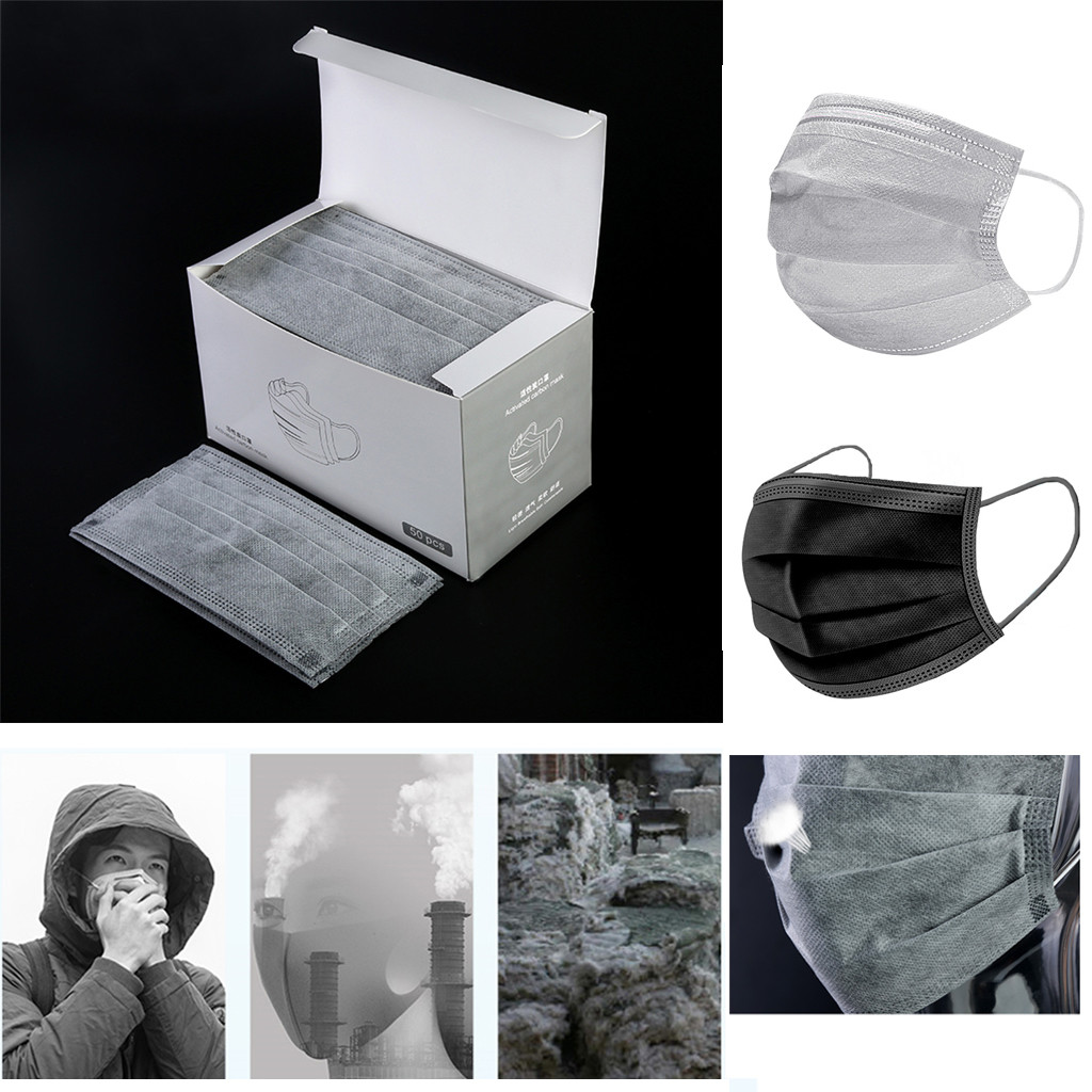 50PCS Face Mouth Mask Anti-Dust Mask Activated Carbon Filter Windproof  Dustproof Face Masks Protection Mouth Face Masks