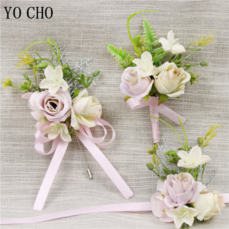 YO CHO Wedding Men Boutonnieres Bridal Hand Wrist Flowers Brooch Groomsmen Corsages Artificial Roses Flowers Party Accessories