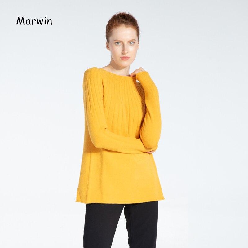 Marwin 2019 nouveau-venant solide o-cou ruché épais femmes chandails haute rue Style doux chaud femme pulls tricotés